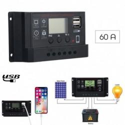 27b7d2626e59 1x 12V / 24V LCD 50A napelemes töltővezérlő PWM Dual USB töltésszabályozó  panel fekete
