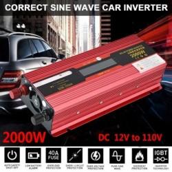 2000W hordozható autó LED-es inverter WATT DC 12V / 24V-tól AC 110V-os töltő átalakítóhoz