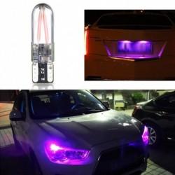 1db T10 lila szín 194 168 W5W COB LED CANBUS szilika fényes üveg licenc lámpa