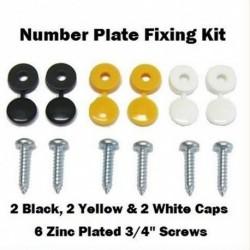 6db Autó számlap rögzítő szerelőkészlet csavarok és kupakok fekete fehér sárga kupakok
