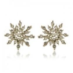 * 5 Ezüst Stud fülbevaló (2cm). Karácsonyi hópehely csillag strasszos kristály nyaklánc fülbevaló ékszer szett