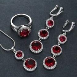 Piros (függő   fülbevaló   gyűrű). Női strasszos 925 ezüst vízcsepp szív medál esküvői nyaklánc ékszer