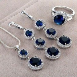 Kék (függő   fülbevaló   gyűrű). Női strasszos 925 ezüst vízcsepp szív medál esküvői nyaklánc ékszer