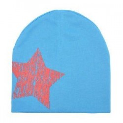 Kék. Baby Boy Girl puha pamut téli meleg sapka gyerek kisgyermek csecsemő Star Beanie kalap