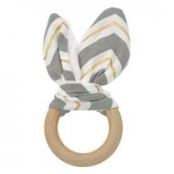 Szürke arany fehér. Baba fogzási gyűrű Chewie Teether kézzel készített fa természetes nyuszi érzékszervi ajándék