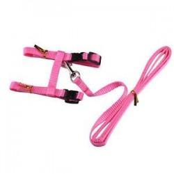 Rózsaszín. Állítható kisállat macska kölyökköteg nyakörv nylon póráz vezető biztonsági séta kötél Új