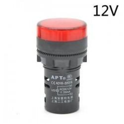 Piros-12V. LED-es jelzőfény-jelzőfény-jelzőfény Vörös zöld Kék Sárga Fehér 22mm