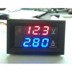 Piros   kék. 0-100V 10A kék piros LED DC kettős kijelző Digitális áram- és feszültségmérő mérő