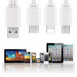 3 in 1  USB Lightning + Micro + Type C Töltő kábel IPhone Samsung Huawei 25CM