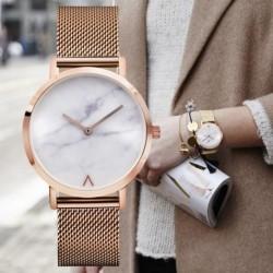 Divat egyszerű kvarc Watch nők márvány rozsdamentes acél órák női Ultra vékony karórák