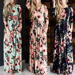 34c36f390d 1x Női divatos tavaszi nyári 3/4 ujjú klasszikus színes mintás ruha  egyrészes