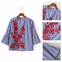 2495166c42 1x Új divatos női csíkos hosszú ujjú hímzett ing blúz felső virágmintás