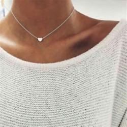Ezüst. Nők szeretik a szív medál arany ezüst choker Chunky lánc Bib nyaklánc ékszer