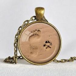 Vintage szerelem ékszer kutya mancs nyomtatási lábnyom Charm medál ezüst lánc nyaklánc