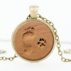 Ezüst. Vintage szerelem ékszer kutya mancs nyomtatási lábnyom Charm medál ezüst lánc nyaklánc