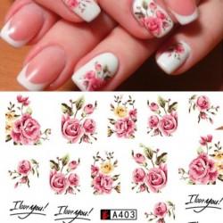 1db Ideiglenes köröm tetoválás - vízálló matrica - unisex - Virág mintákkal