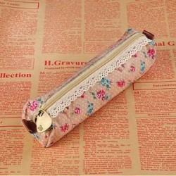 Retro virág virág csipke vászon ceruza toll esetben tartó kozmetikai smink táska tasak