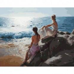 1x tengerpati lányok Kézzel festett vászon olajfestmény Art Decor 40X50CM