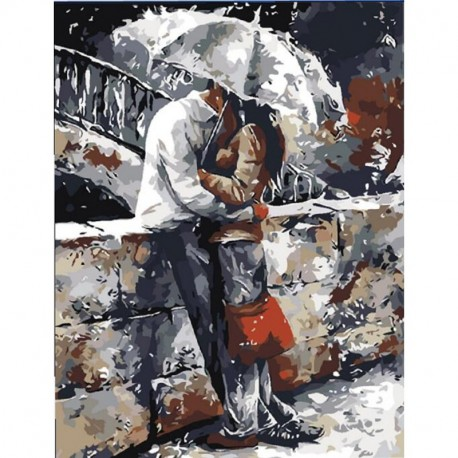355d75c60c 1x szerelmespár esőben festett vászon olajfestmény Art Decor 40X50CM