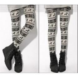 Divat női kötött elasztikus hópehely Nordic rénszarvas harisnyanadrág nadrág