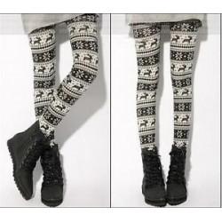 Divat nők XMAS Kötött rugalmas hópehely rénszarvas nadrág nadrág leggings
