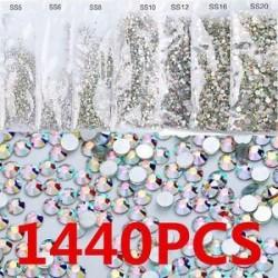 1440pcs lapos hátsó körömlakk csillogó gyémánt drágakövek 3D tippek díszítés