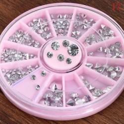 6 *. 3D AB körömlakk strasszos kristálytisztító csillogás manikűr tippek Dekoráció