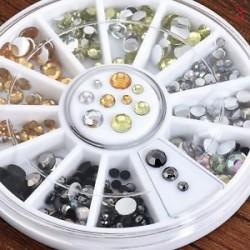 3D AB körömlakk strasszok csillognak akril tippek dekoráció manikűr kerék DIY