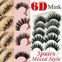 5 pár Multipack Mink Hair hamis szempillák Wispy bolyhos hosszú természetes szem szempillák