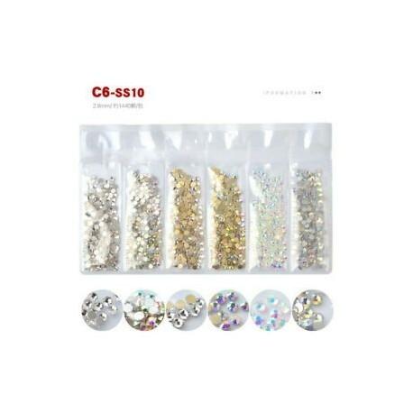 C6 (SS10). 1440pcs 3D Nail Art strasszos csillogó gyémánt kristály drágakövek tippek DIY dekoráció