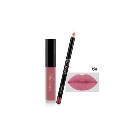 6 *. Vízálló, hosszú élettartamú matt Liquid Lipstick Lip Liner kozmetikai sminkkészlet
