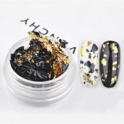 Arany-Fekete - Fényes körömdíszítő fólia darabok körömhöz - műkörömhöz - 1 adag
