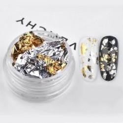 Arany ezüst. Glitter alumínium fólia 3D flake matrica UV gél lengyel Nail Art Paillette 1 doboz