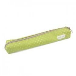 Zöld. Kawaii Candy Dot levélpapír táska vászon cipzár ceruza esetben iskola diák szállít