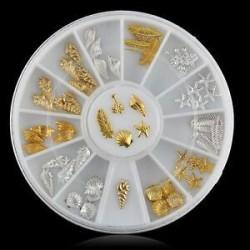 Arany és ezüst színű vegyes dísz körömhöz - műkörömhöz - 733-as verzió