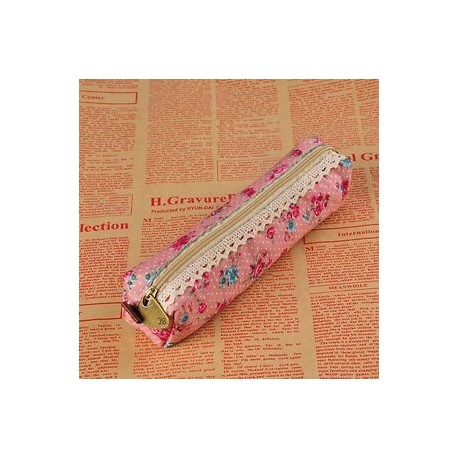 Piros. Retro virág virág csipke ceruza toll eset lány kozmetikai smink táska tartó