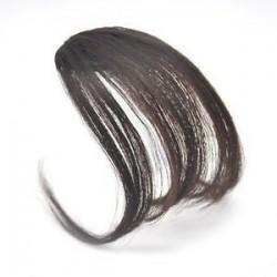 Sötétbarna. 1PC vékony légáramlatok Az emberi hajhosszabbítások a Fringe elülső frizuráján találhatóak