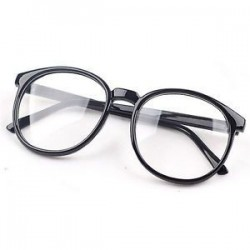 Fekete. Divat Unisex világos lencse szemüveg keret Retro kerek férfi nők Nerd szemüveg