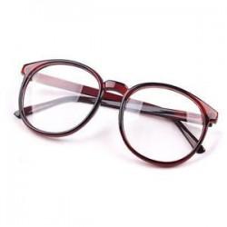 Barna. Divat Unisex világos lencse szemüveg keret Retro kerek férfi nők Nerd szemüveg