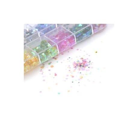 M33. 12 rács 3D színes csillogás flitterek Paillette Crystal Nail Art tippek manikűr