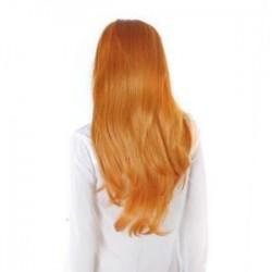 Sárga. Női hölgy hosszú haj paróka göndör hullámos szintetikus anime Cosplay fél teljes paróka Új