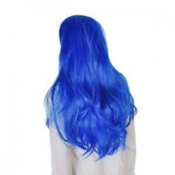 Kék. Női hölgy hosszú haj paróka göndör hullámos szintetikus anime Cosplay fél teljes paróka Új