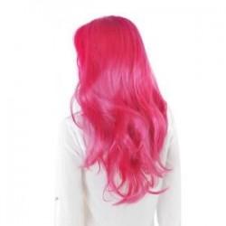 Rózsavörös. Női hölgy hosszú haj paróka göndör hullámos szintetikus anime Cosplay fél teljes paróka Új