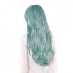 Zöld. Női hölgy hosszú haj paróka göndör hullámos szintetikus anime Cosplay fél teljes paróka Új