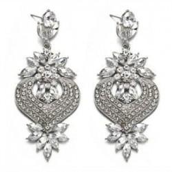 fehér. Női elegáns kristályos strasszos füldugó csepp fülbevaló esküvői ékszerek