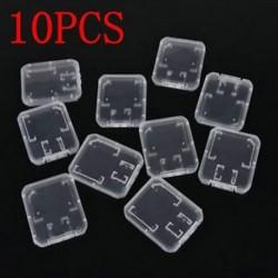 10PCS átlátszó műanyag szabványos SDHC SD memóriakártya tok doboz tartó tároló