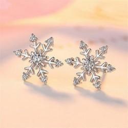 * 3 Stud fülbevaló (1cm) - Karácsonyi hópehely csillag strasszos kristály nyaklánc fülbevaló ékszer szett