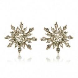 * 5 Ezüst Stud fülbevaló (2cm) - Karácsonyi hópehely csillag strasszos kristály nyaklánc fülbevaló ékszer szett