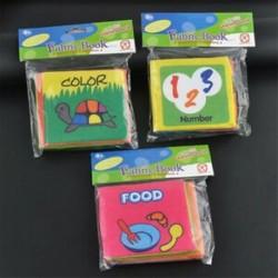 3db (Food   színes   szám) - Csecsemő baba gyerekek intelligencia fejlesztése puha ruhát felismerik a könyv állati