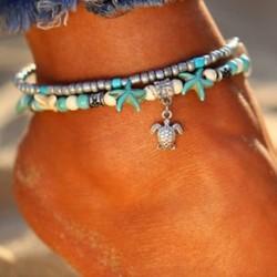 Boho tengeri csillag türkiz gyöngyök tengeri teknős anklet strand szandál boka karkötő JP
